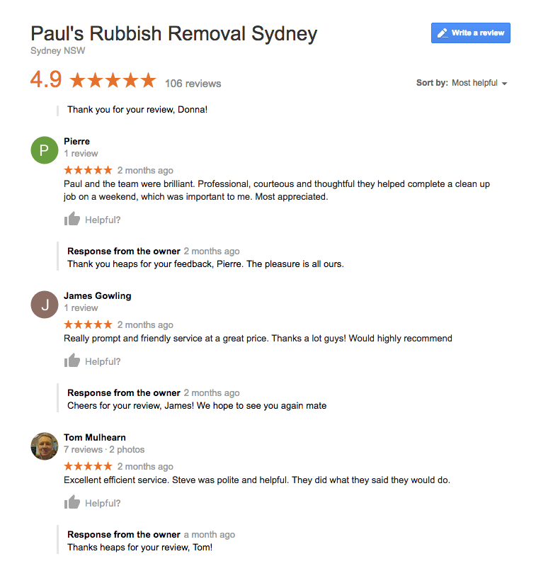 Google Reviews For Paul's Rubbish