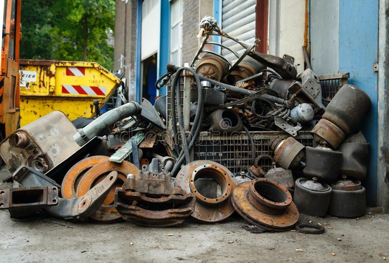 scrap metal old car parts garage