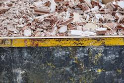 Removal of debris. Construction waste. Building demolition. Devastation
