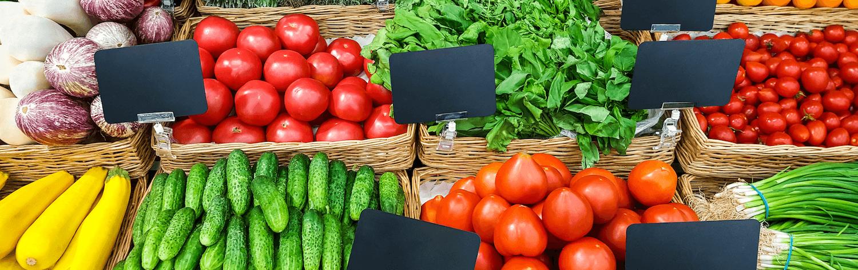 fresh vegetables on shelf supermarket