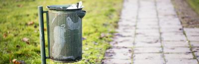 trash bin in public