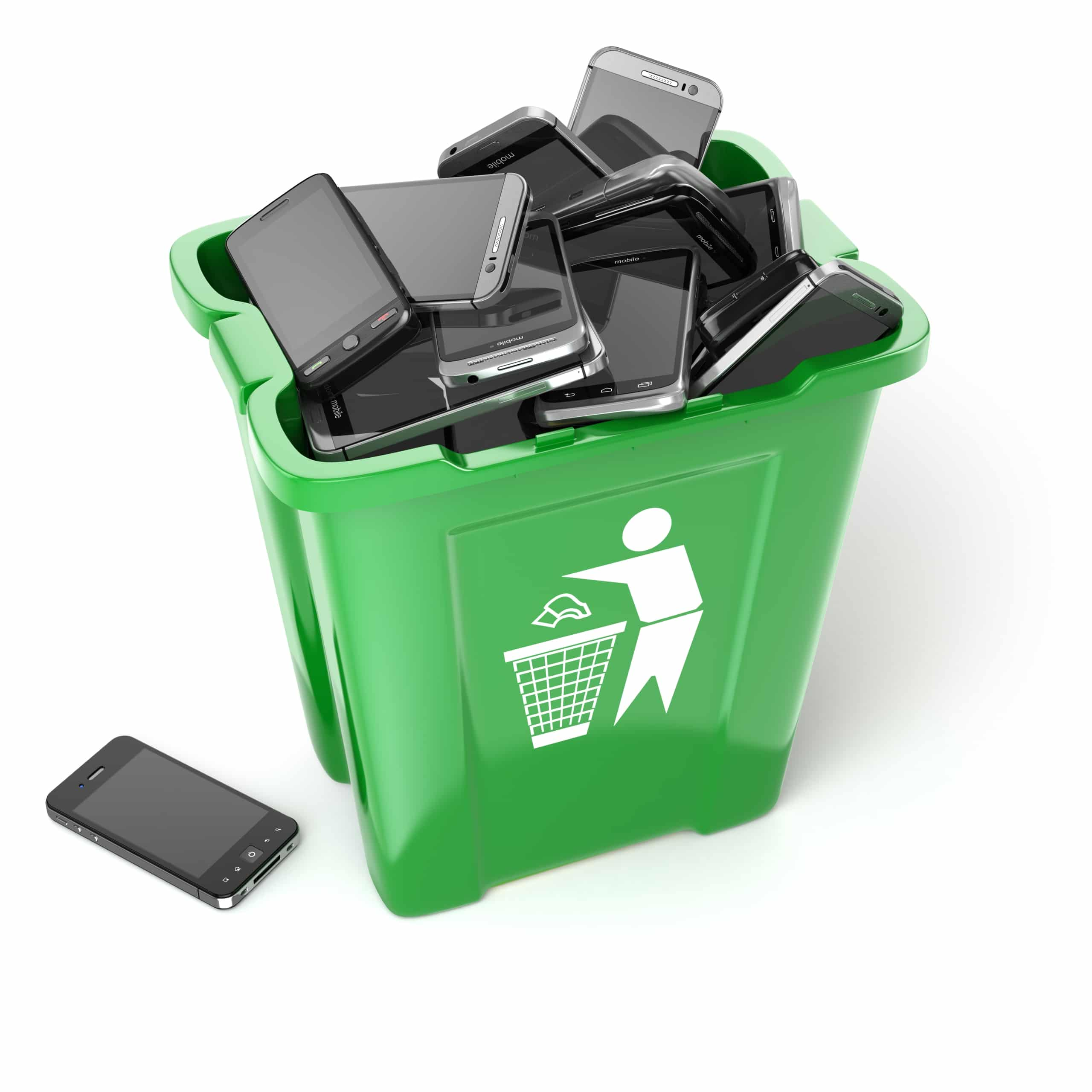 Mobile phones in garbage can isolated on white background. Utilization cellphones concept. 3d