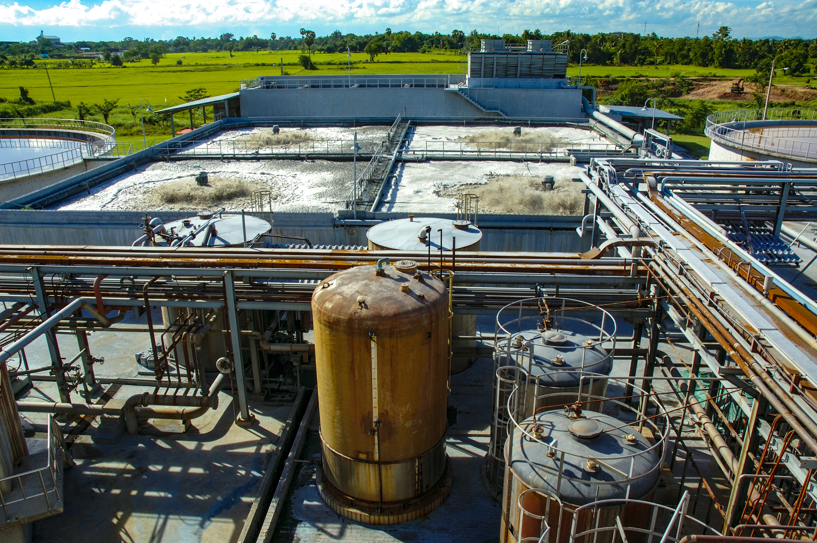 Waste water treatment, purification plant