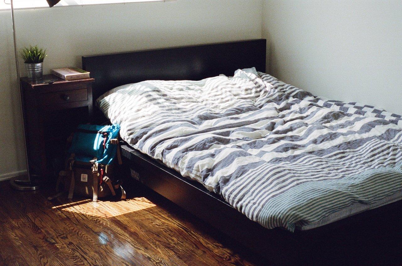 old mattress inside the bedroom