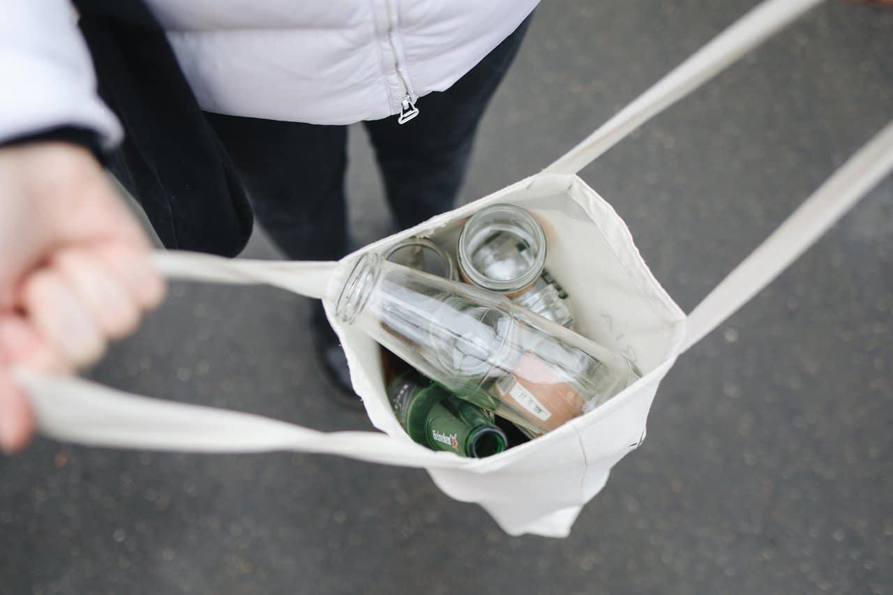 glass bottles inside a bag