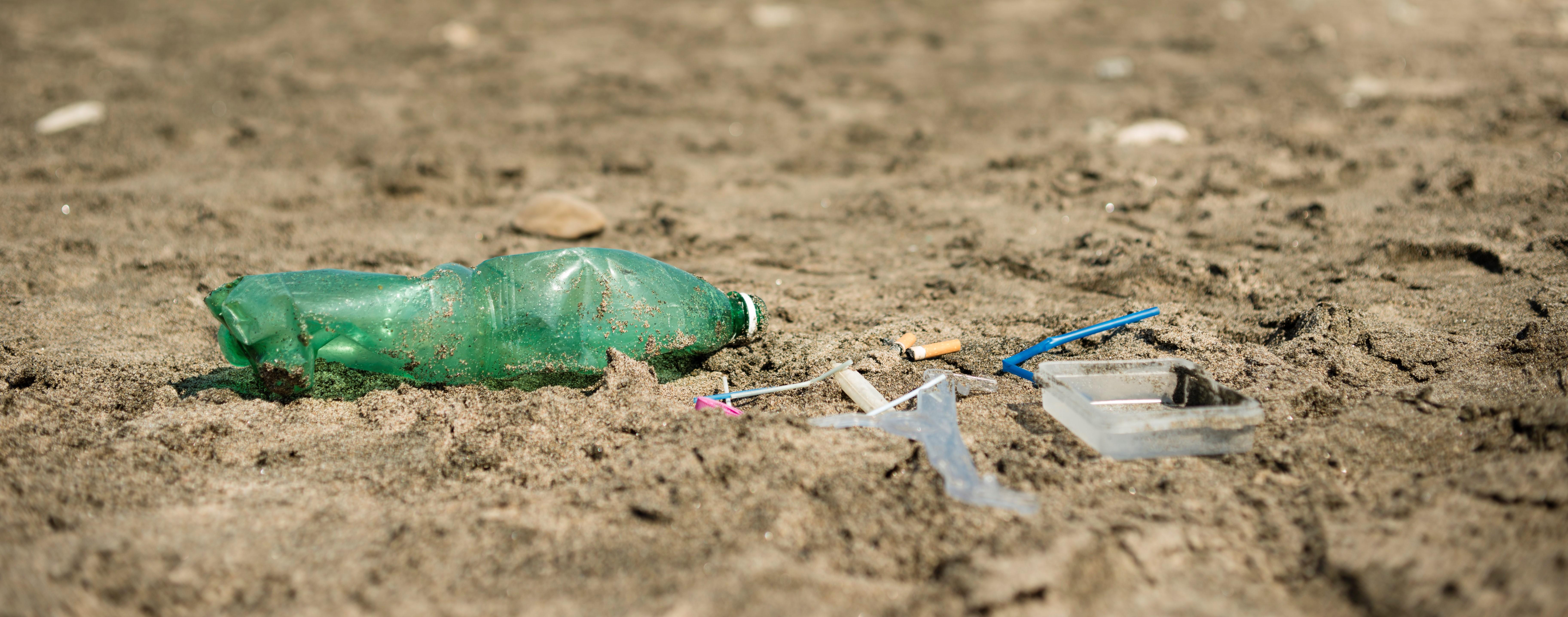 plastic garbage left