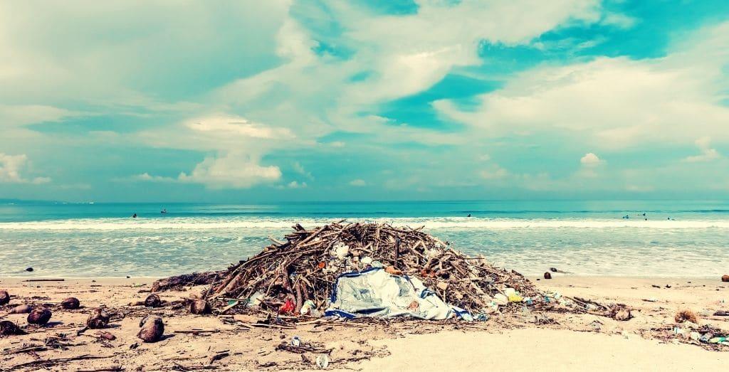 rubbish at the beach