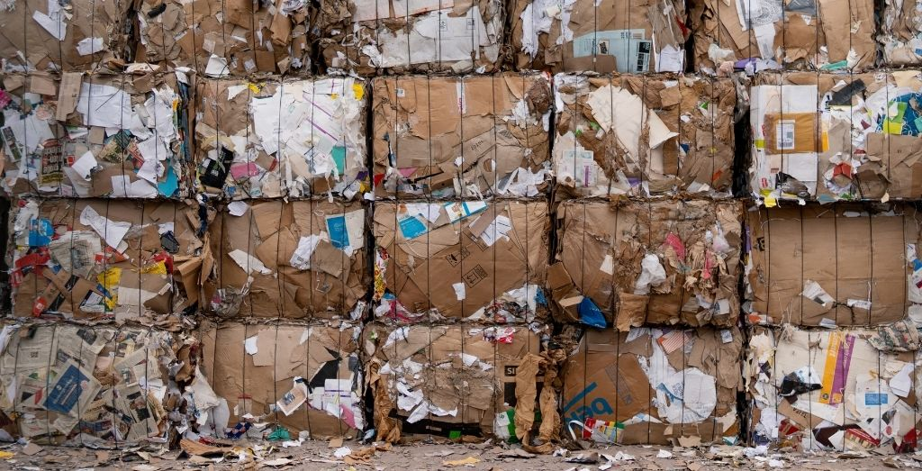 cardboard waste being ready for recycling