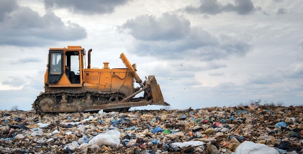 bulldozer working in landfill